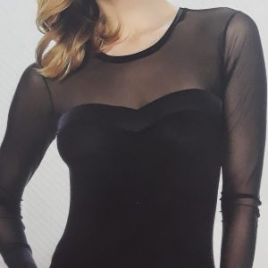 Fekete pamut-tüll alkalmi női body (22957)