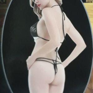 Fekete-fehér csipkés melltartó csipketangával