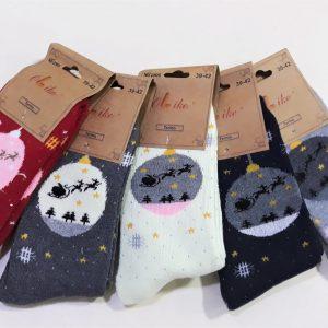Karácsonyi mintás vastag női zokni