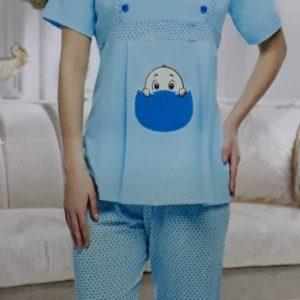 Kismama mintás pizsama pettyes köntössel
