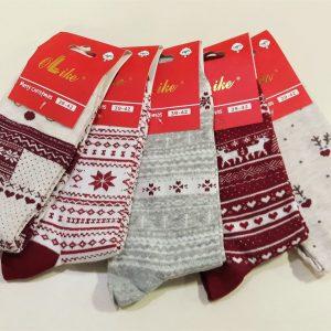 Karácsonyi mintás női pamut zokni