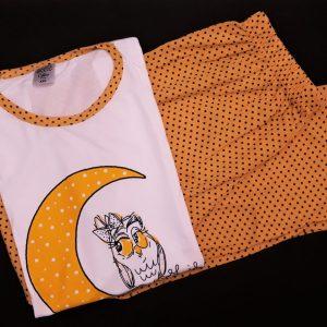 Baglyos rövidujjú női pizsama pettyes nadrággal