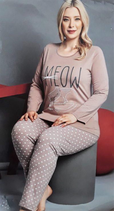 Hosszúujjú cicás női pizsama nagy méretben