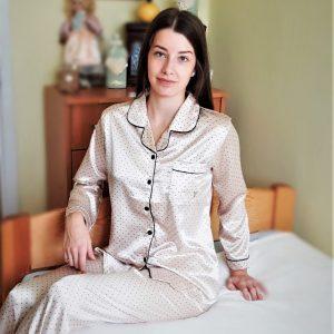 Szatén hatású pettyes női pizsama