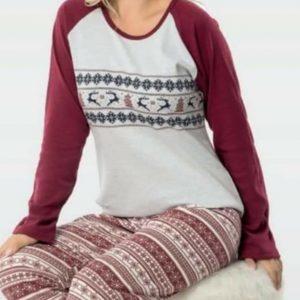 Karácsonyi mintás vastag női pizsama