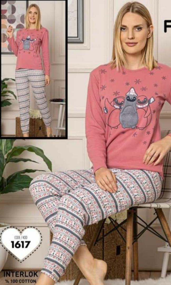 Női pamut pizsama téli mintával