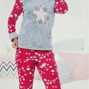 Vastag plüss női pizsama csillag mintával