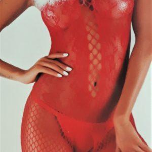 Karácsonyi erotikus fehérnemű, piros cicaruha