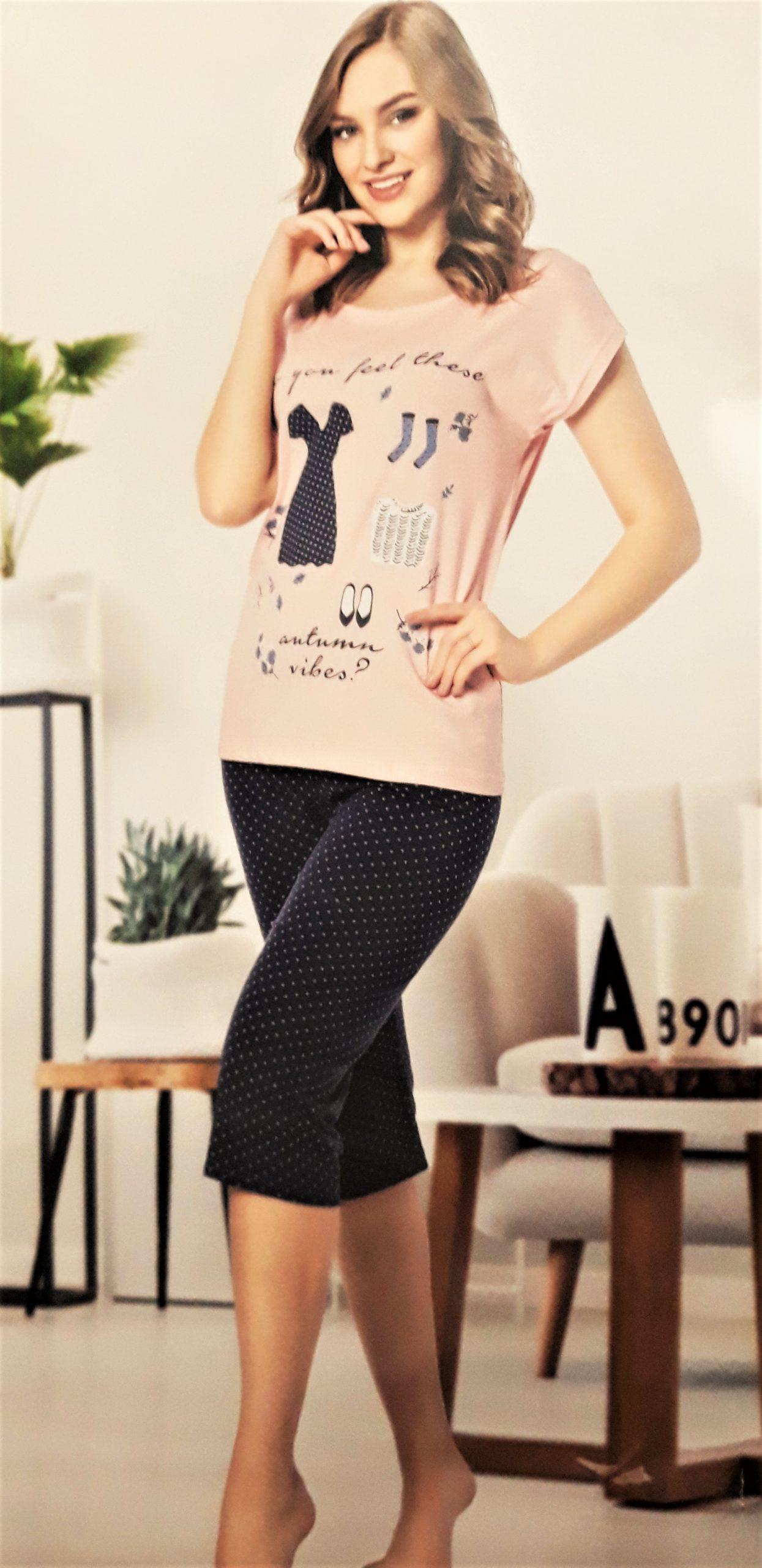 Mintás női pizsama pettyes halásznadrággal