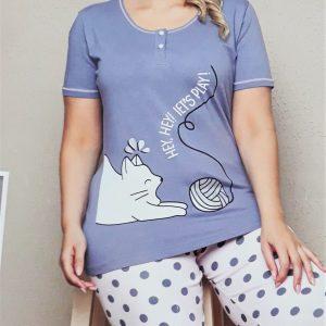 Nagyméretű női pettyes pizsama cicás mintával