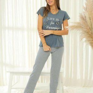 Rövidujjú női pizsama csíkos nadrággal