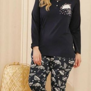 Hosszúujjú nagyméretű női pizsama esernyős mintával