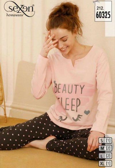 Hosszúujjú pettyes pamutsztreccs női pizsama