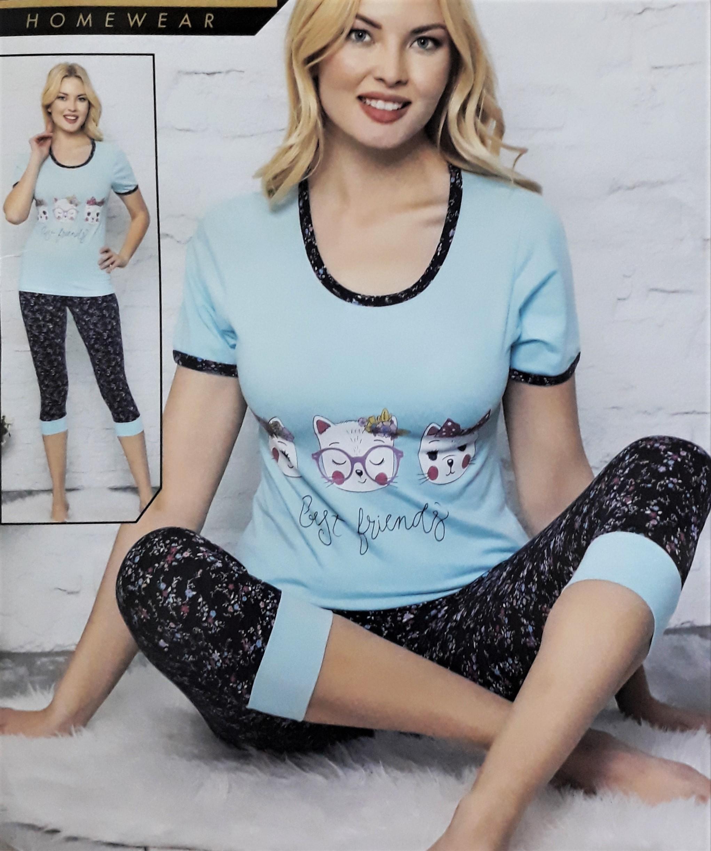 Cicás női pamut pizsama halásznadrágos