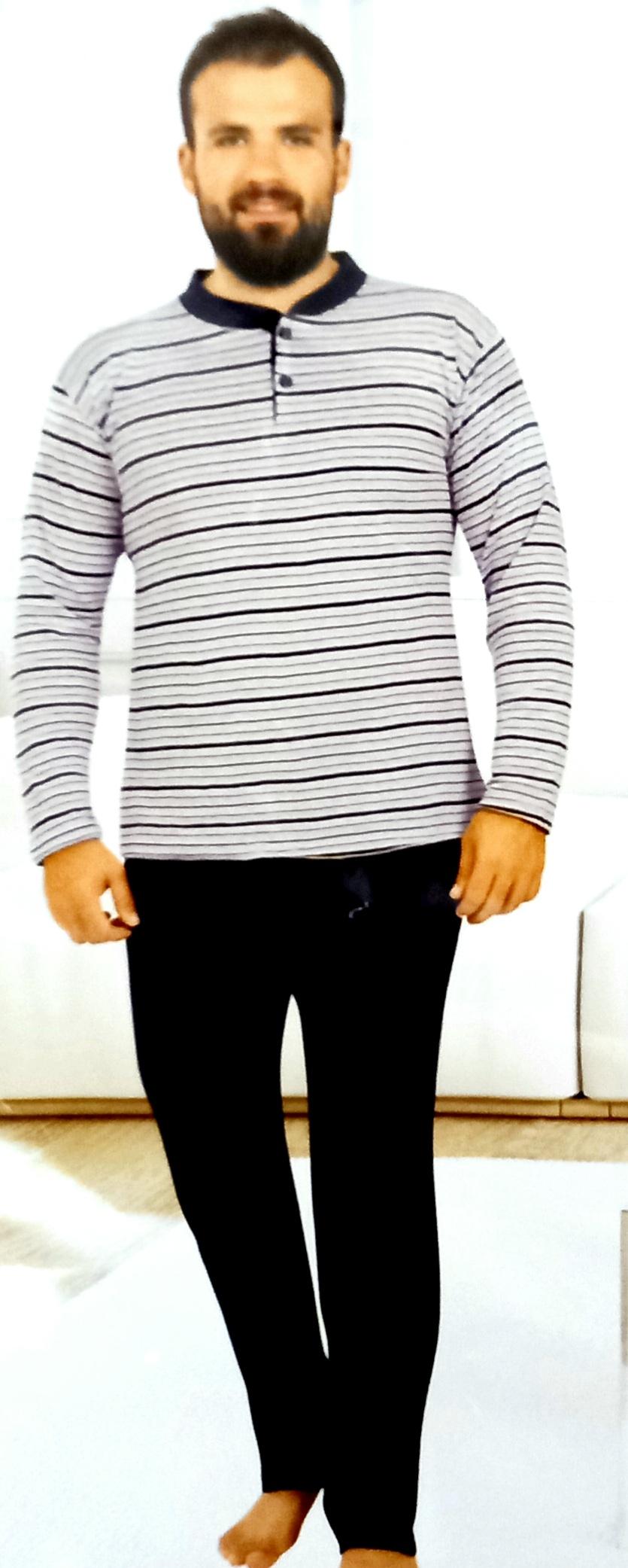 Férfi csíkos pamut pizsama 5XL-es méretig