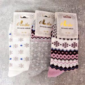 Hópehelymintás női pamut zokni